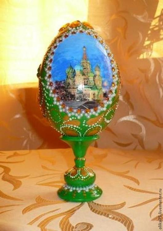 """Яйца ручной работы. Ярмарка Мастеров - ручная работа. Купить Яйцо """"Храм Василия Блаженного"""". Handmade. Зеленый, красивый подарок"""