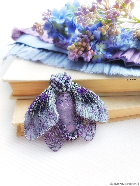 Брошь Мотылек фиолетово-серый, 9 х 8 см, Брошь-булавка, Мурманск,  Фото №1