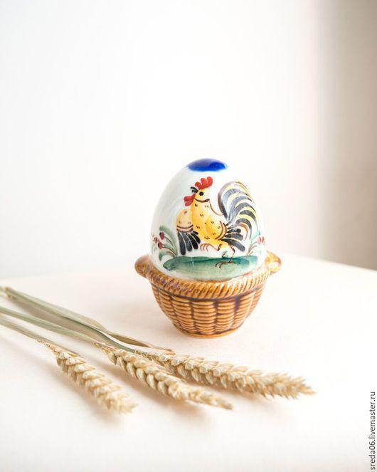 Подарки на Пасху ручной работы. Ярмарка Мастеров - ручная работа. Купить Пасхальное яйцо с Петушком Фарфор. Handmade. Белый