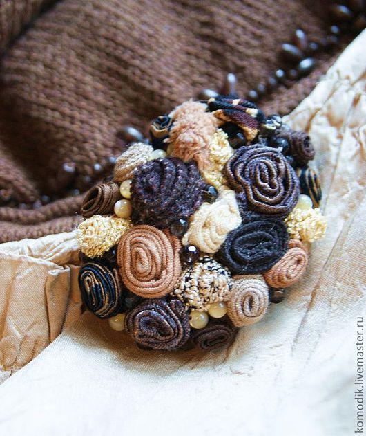 """Броши ручной работы. Ярмарка Мастеров - ручная работа. Купить брошь """"Золотой шоколад"""", с дымчатым кварцем и перламутром. Handmade."""