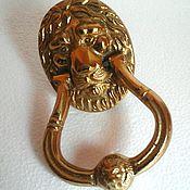 Винтаж handmade. Livemaster - original item Vintage Chic vintage bronze knocker handle with lion head. Handmade.