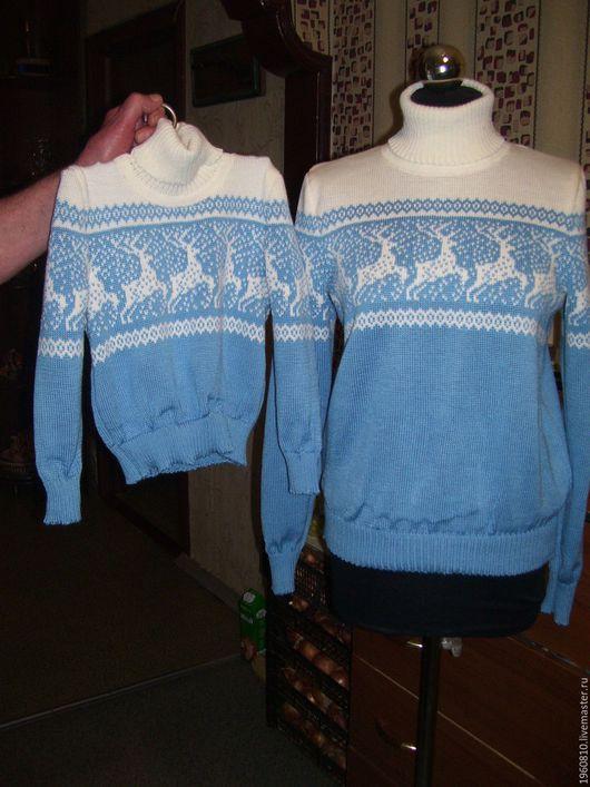 Кофты и свитера ручной работы. Ярмарка Мастеров - ручная работа. Купить СЕМЕЙНЫЙ КОМПЛЕКТ СКАНДИНАВСКИЕ УЗОРЫ  (ОЛЕНИ СНЕЖИНКИ ). Handmade.