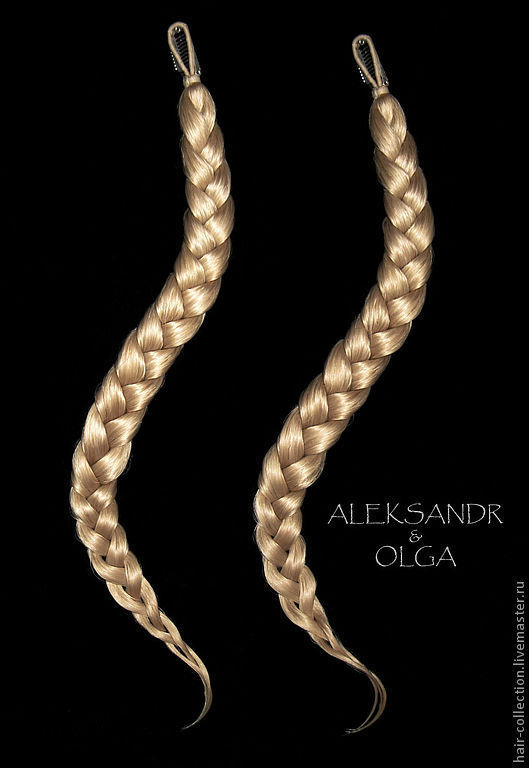 КОСИЧКИ light  - имитации - накладные косы - постиж Золотистый блонд В Наборе - 2 шт.