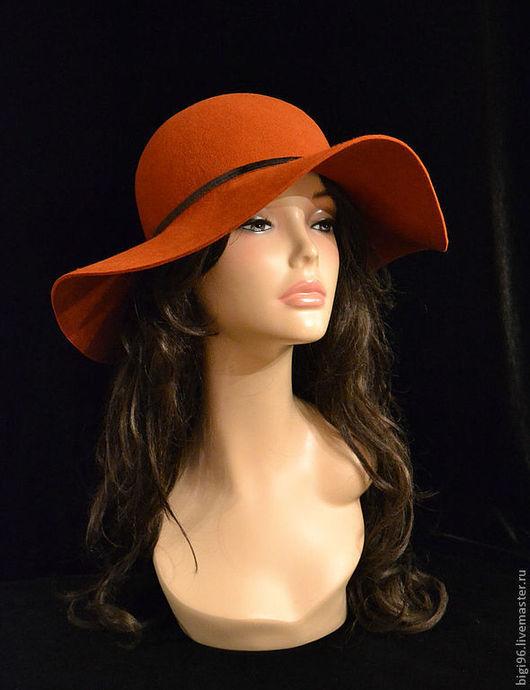 """Шляпы ручной работы. Ярмарка Мастеров - ручная работа. Купить Шляпа """"Незнакомка"""" терракот. Handmade. Коричневый, шляпа с полями"""