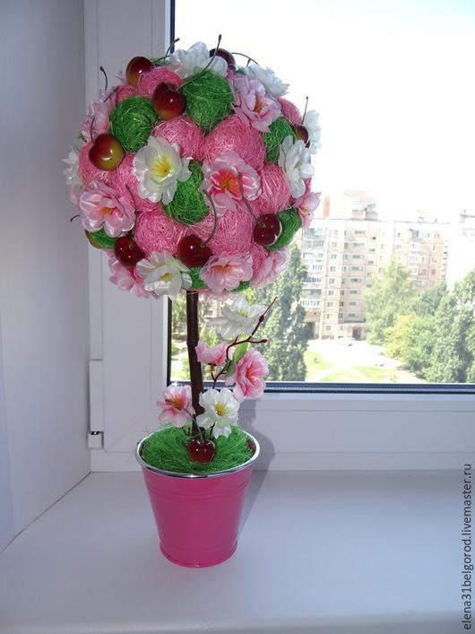 """Топиарии ручной работы. Ярмарка Мастеров - ручная работа. Купить Топиарий """"Цветущая вишня"""". Handmade. Разноцветный, вишня, розовый цвет"""