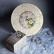 """Для дома и интерьера ручной работы. Ярмарка Мастеров - ручная работа Часы """"Magnolia"""" + шкатулка. Handmade."""
