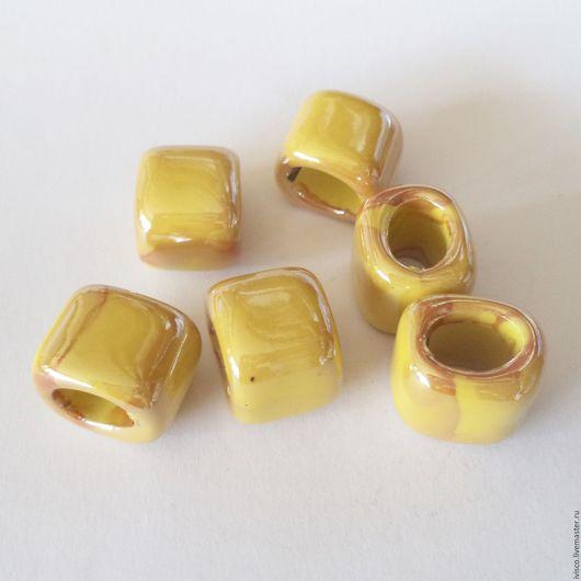 Для украшений ручной работы. Ярмарка Мастеров - ручная работа. Купить Керамические бусины для кожаных браслетов Regaliz светлая охра. Handmade.