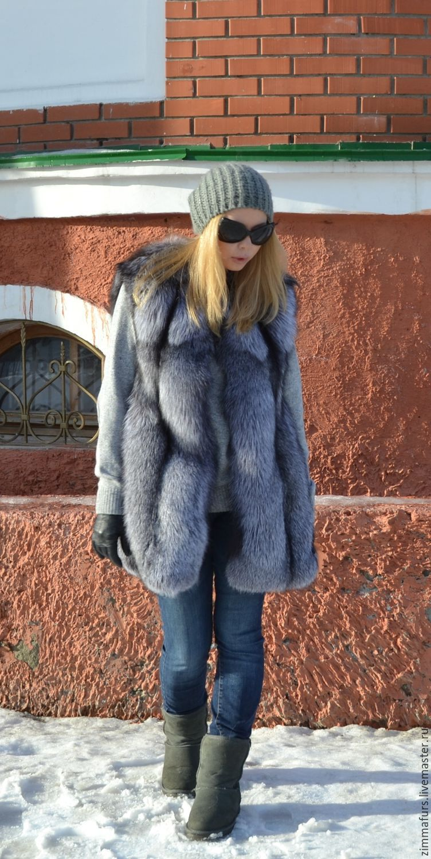 Vest fur black brown(silver) foxes, Vests, Omsk, Фото №1