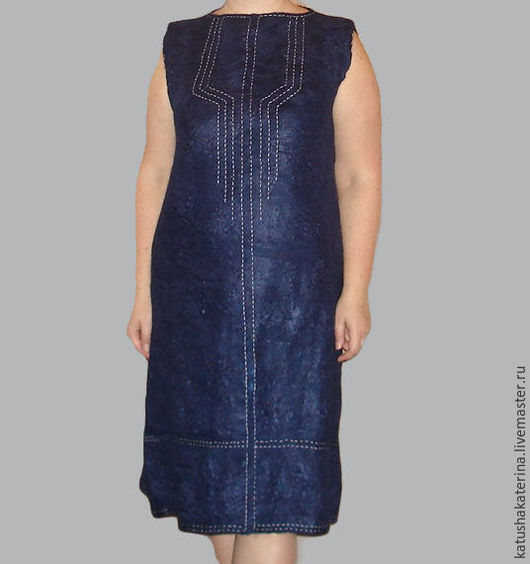 Платья ручной работы. Ярмарка Мастеров - ручная работа. Купить Платье валяное из шерсти и льна. Handmade. Синий, однотонный