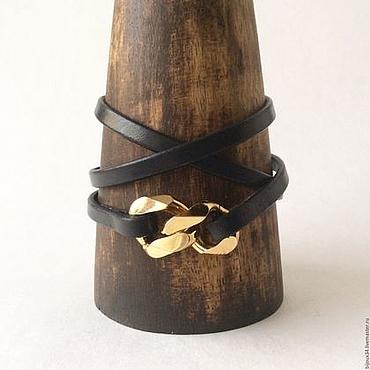 Украшения ручной работы. Ярмарка Мастеров - ручная работа Черный браслет-намотка, кожа, черное с золотом. Handmade.