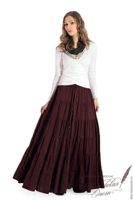 """Юбки ручной работы. Ярмарка Мастеров - ручная работа. Купить ярусная юбка ,,Магда"""". Handmade. Коричневый, длинная юбка"""