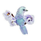Украшения handmade. Livemaster - original item Brooch-bird aquamarine Flower brooch with a bird. light turquoise. Handmade.