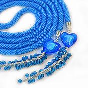 """Украшения ручной работы. Ярмарка Мастеров - ручная работа Лариат """"Сердце океана"""" жгут  из бисера темно-голубой. Handmade."""