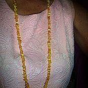 Украшения ручной работы. Ярмарка Мастеров - ручная работа Янтарные бусы длинные натуральный камень янтарь ожерелье медово-жёлтый. Handmade.