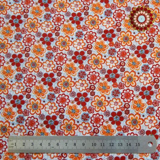 Ткань хлопок `Бальзамин оранжевый`. Код товара: ZT-00064