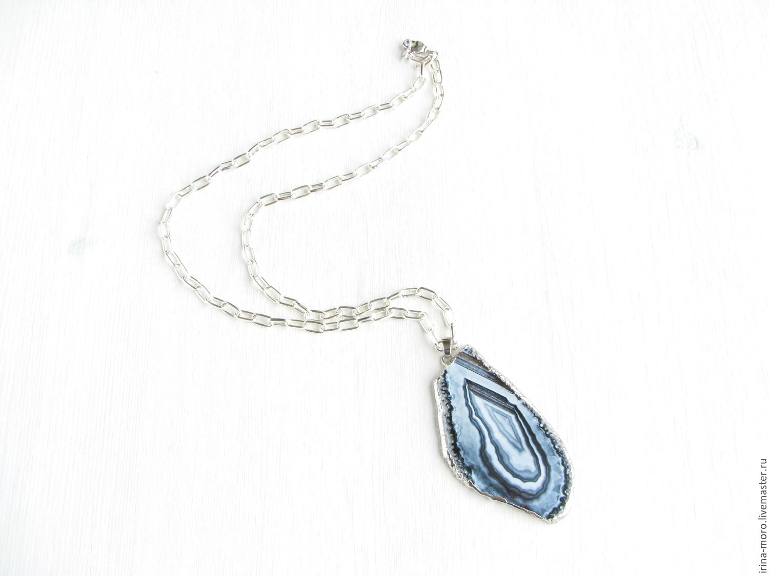 Irene Moreau. Irina Moro.  Large pendant `In white and grey tones`. Silver pendant on a long chain. an unusual gift. the sterling silver pendant.
