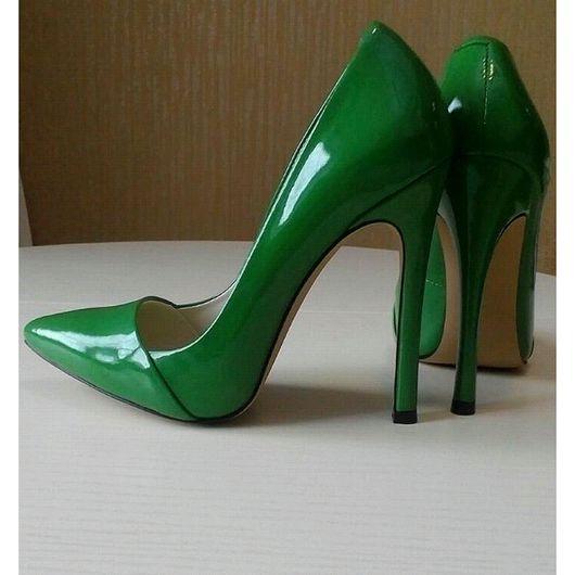 Обувь ручной работы. Ярмарка Мастеров - ручная работа. Купить Туфли  бутылочного цвета. Handmade. Туфли, женская обувь, лодочки