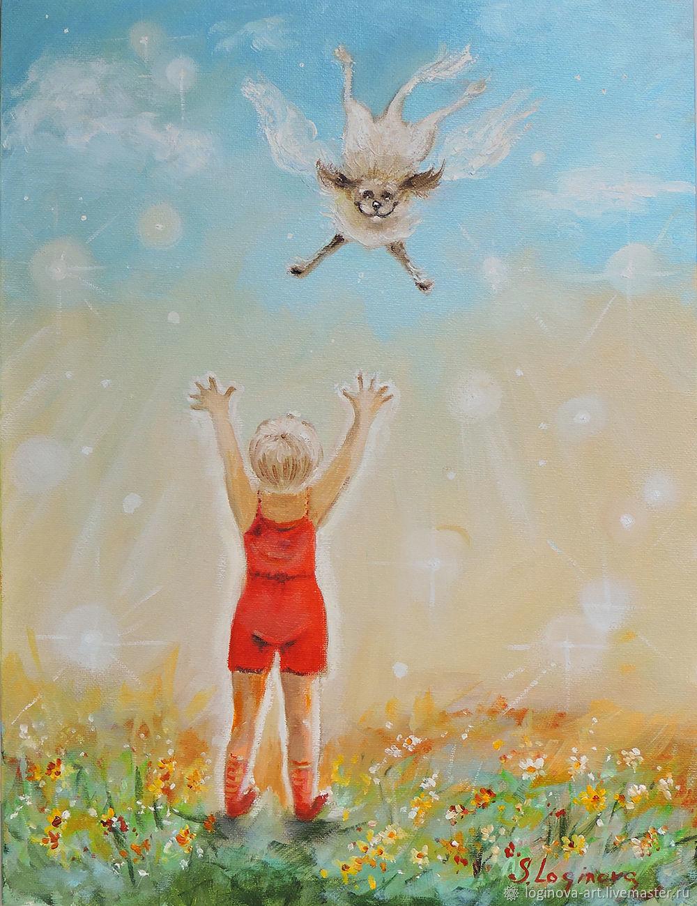 Встреча с ангелом-картина маслом, картина с собачкой, Картины, Находка,  Фото №1