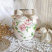 Для дома и интерьера ручной работы. Ярмарка Мастеров - ручная работа Ваза для цветов Розовые розы. Handmade.