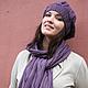 Шапка шарф, слива, сливовый, шапки шарфы, шарфы шапки, комплект шапка и шарф, комплект женский шапка шарф, комплект женский вязаный, шапка и шарф, фиолетовый, сиреневый