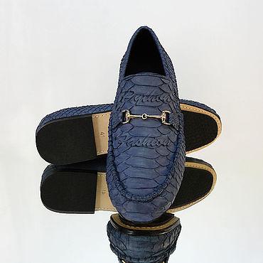Обувь ручной работы. Ярмарка Мастеров - ручная работа Мужские мокасины из питона DAVIDO. Handmade.