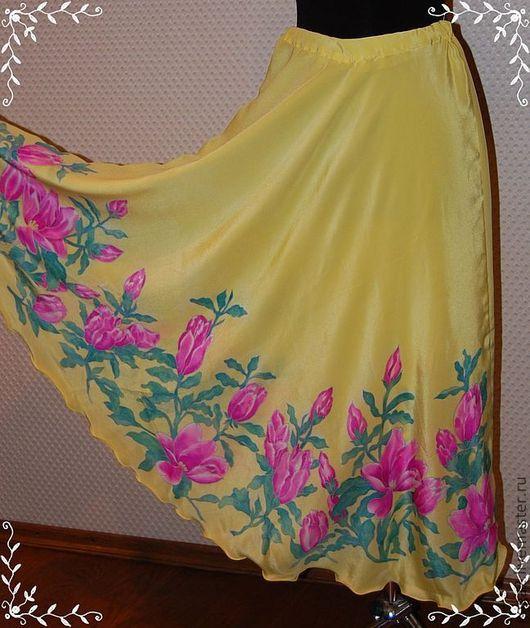 """Юбки ручной работы. Ярмарка Мастеров - ручная работа. Купить Шелковая длинная юбка """"Вдохновение"""" батик. Handmade. Юбка в пол"""