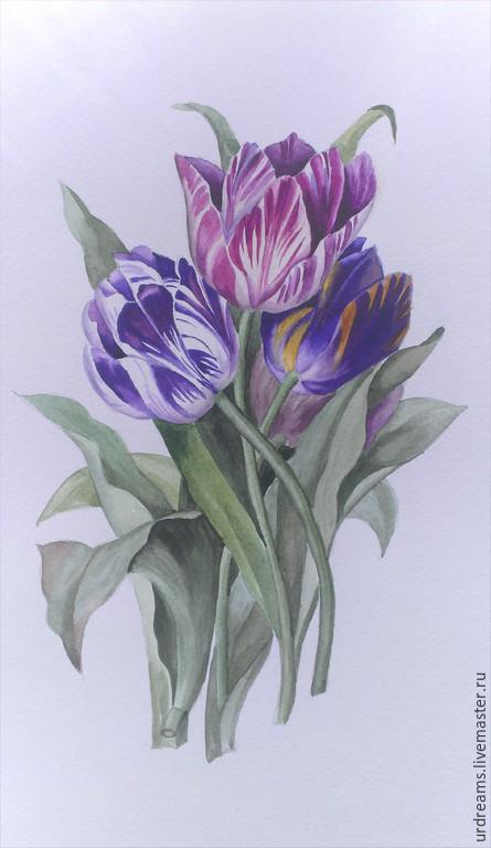 Картины цветов ручной работы. Ярмарка Мастеров - ручная работа. Купить Тюльпаны. Handmade. Разноцветный, винтажный стиль, акварельные краски