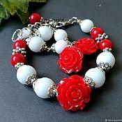 Jewelry Sets handmade. Livemaster - original item Set Red roses. agate jadeite bracelet earrings. Handmade.