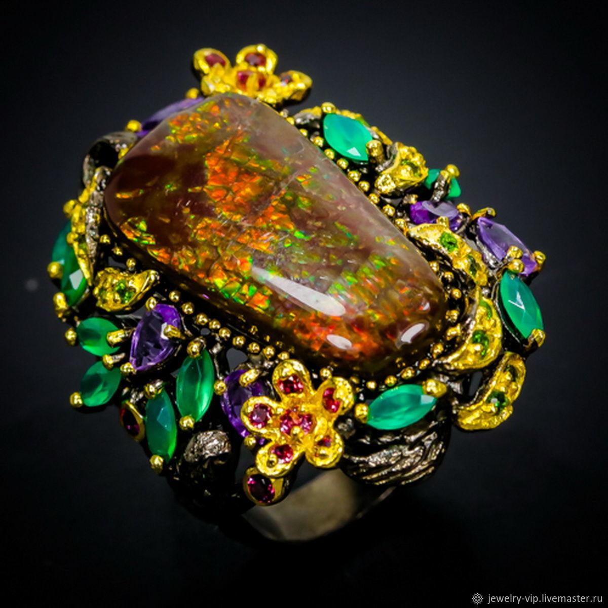 Шедевральное кольцо с натуральным аммолитом – купить на Ярмарке Мастеров – JVEK2RU   Кольца, Киев