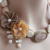 Украшения handmade. Livemaster - original item Embroidered necklace beaded with stones and beaded flowers cream beige. Handmade.