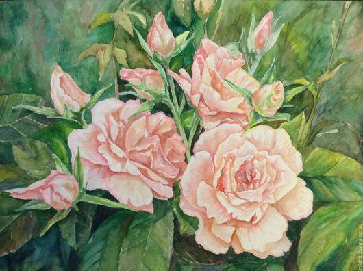 Картины цветов ручной работы. Ярмарка Мастеров - ручная работа. Купить Крымская роза. Handmade. Белый, рисунок, акварельная бумага