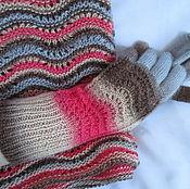 Аксессуары handmade. Livemaster - original item Snood scarf and gloves Autumn striped wool with silk. Handmade.