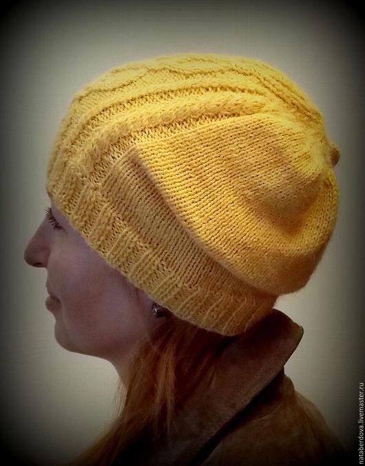 Шапки ручной работы. Ярмарка Мастеров - ручная работа. Купить Вязаная шапка. Handmade. Желтый, шапка вязаная женская