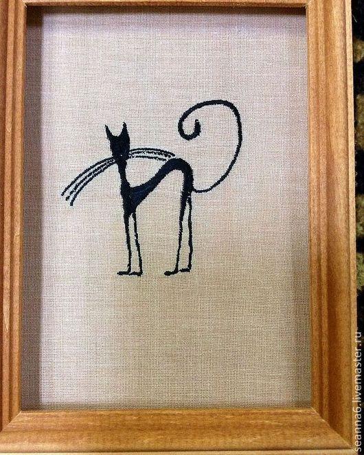 """Животные ручной работы. Ярмарка Мастеров - ручная работа. Купить Картинка, панно, картина вышитая """"Черная киса"""". Handmade."""