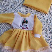 Одежда для кукол ручной работы. Ярмарка Мастеров - ручная работа Платье с единорожкой+шапочка для текстильных кукол. Handmade.