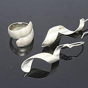 Украшения handmade. Livemaster - original item Minima Series Curl Ring and earrings in brushed silver 9. Handmade.