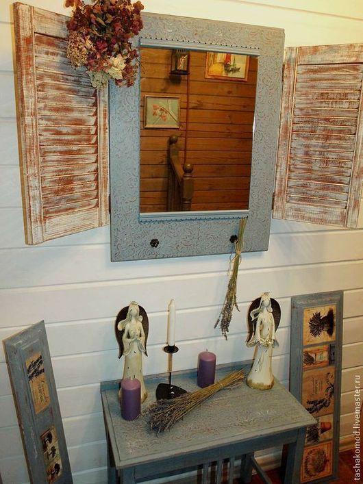 """Мебель ручной работы. Ярмарка Мастеров - ручная работа. Купить Консольный столик и зеркало со ставнями  """"Оттенки Прованса"""". Handmade."""