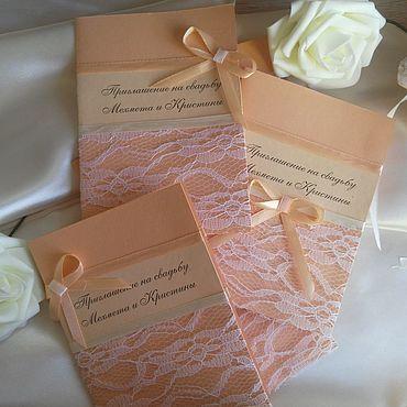 Свадебный салон ручной работы. Ярмарка Мастеров - ручная работа Приглашения: персиковый ажур. Handmade.