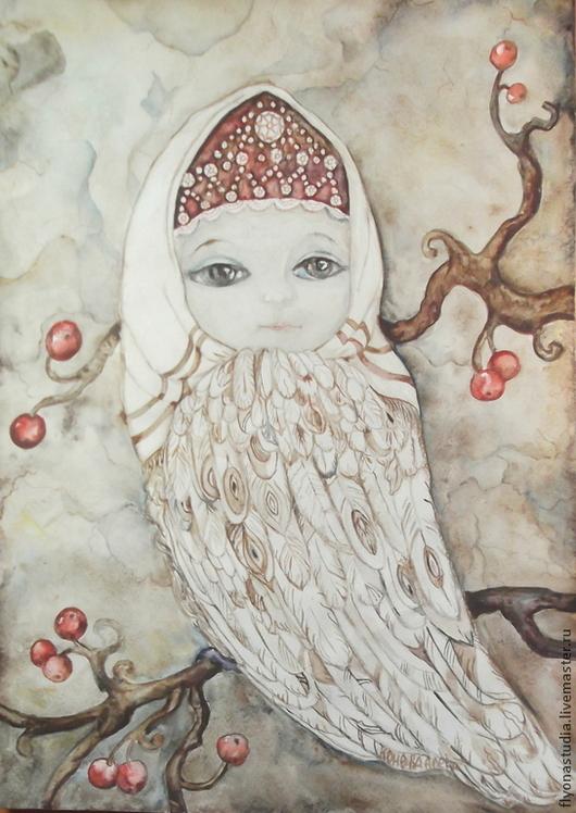Картина сказочная.Фэнтези.Фантазийный авторский сюжет ручной работы.`Сирин - маленькая птичка.  Сухая акварель написана  по технике `а ля прима`. Сказка в теплоте рук Коневой Алёны.