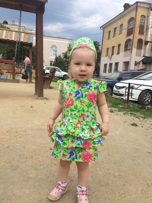 Одежда для девочек, ручной работы. Ярмарка Мастеров - ручная работа. Купить Прекрасное хлопковое летнее платье для девочки.. Handmade. Платье