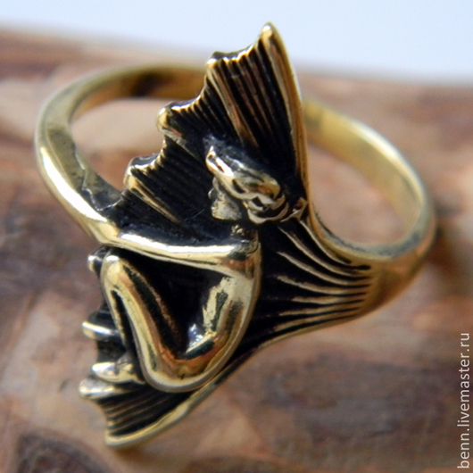 """Кольца ручной работы. Ярмарка Мастеров - ручная работа. Купить Кольцо """"Морская Дева"""". Handmade. Модерн, символ, женщина, бронза"""