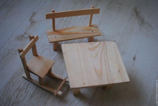 Кукольный дом ручной работы. Ярмарка Мастеров - ручная работа. Купить Стол, Стул и Скамейка. Handmade. Деревянный стол, скамеечка