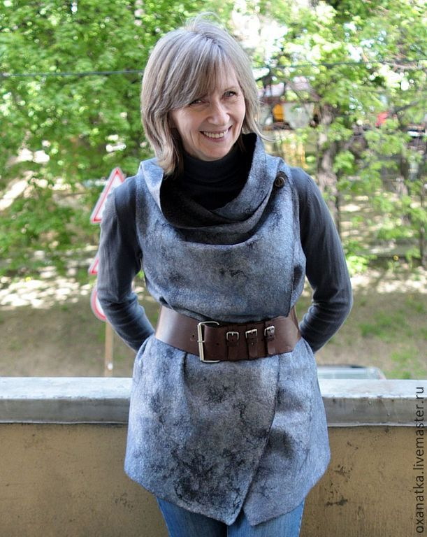 Felted vest Jeans, Vests, Moscow,  Фото №1