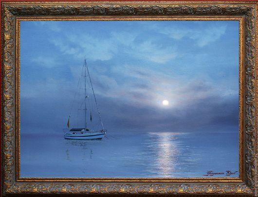 Пейзаж ручной работы. Ярмарка Мастеров - ручная работа. Купить .Лунная ночь-1.картина маслом на холсте.морской пейзаж.классика.. Handmade.
