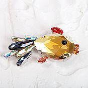 Украшения handmade. Livemaster - original item Swarovski goldfish brooch, Bronvenstyle gift to a girl. Handmade.