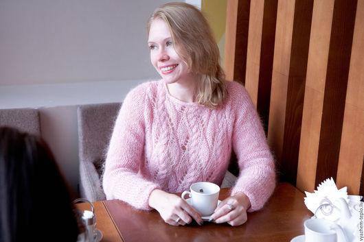 Кофты и свитера ручной работы. Ярмарка Мастеров - ручная работа. Купить Свитер из мохера Розовая Нежность. Handmade. Бледно-розовый
