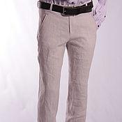 Одежда handmade. Livemaster - original item pants beige men`s linen 100%. Handmade.