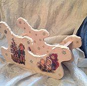 Подарки к праздникам ручной работы. Ярмарка Мастеров - ручная работа Сани-подставка под шампанское. Handmade.