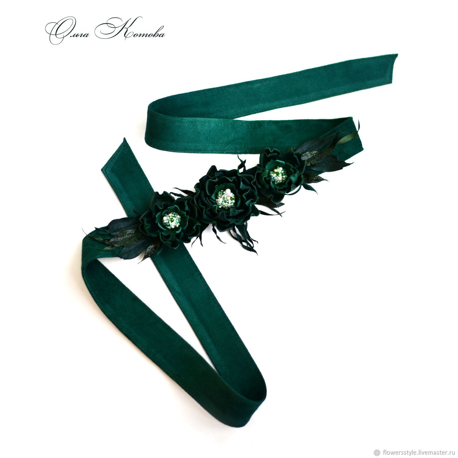 Belt sash Emerald flowers in suede and leather with embroidery, Belt, Kursk,  Фото №1