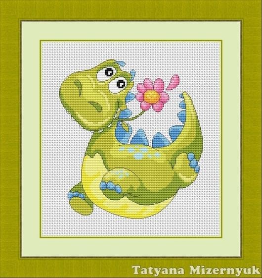 """Вышивка ручной работы. Ярмарка Мастеров - ручная работа. Купить Схема для вышивки крестиком """"Динозаврик с цветком"""". Handmade."""
